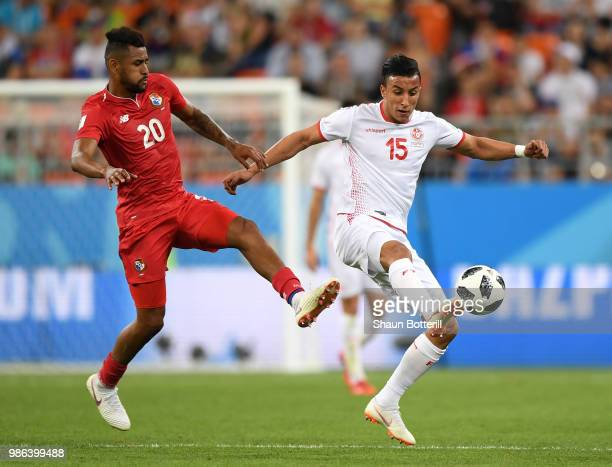 Anibal Godoy of Panama challenge for the ball with Ahmed Khalil of Tunisia during the 2018 FIFA World Cup Russia group G match between Panama and...