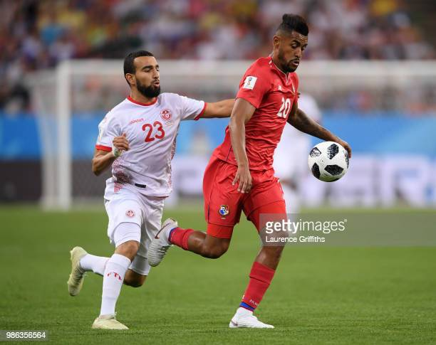 Anibal Godoy of Panama challenge for the ball with Naim Sliti of Tunisia during the 2018 FIFA World Cup Russia group G match between Panama and...