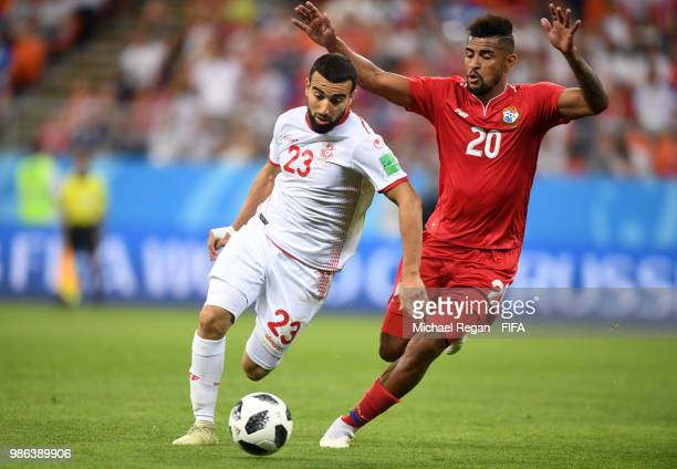 Anibal Godoy of Panama challenges Naim Sliti of Tunisia during the 2018 FIFA World Cup Russia group G match between Panama and Tunisia at Mordovia...