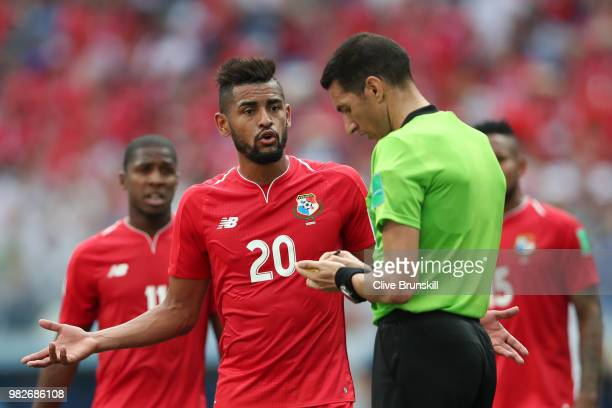 Anibal Godoy of Panama confronts referee Ghead Grisha during the 2018 FIFA World Cup Russia group G match between England and Panama at Nizhny...