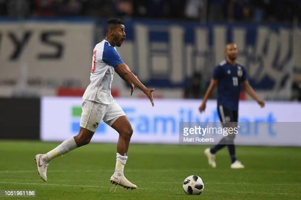 Anibal Godoy of Panama gestures to his team mates during the international friendly match between Japan and Panama at Denka Big Swan Stadium on...