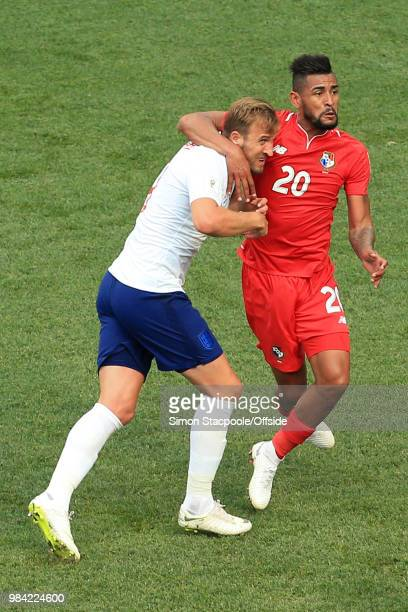 Anibal Godoy of Panama gets Harry Kane of England in a headlock during the 2018 FIFA World Cup Russia Group G match between England and Panama at the...