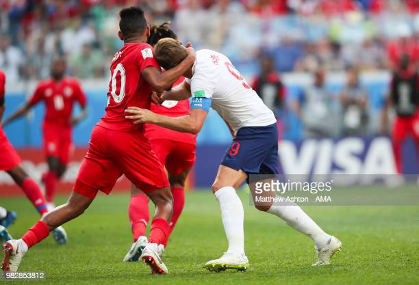 Anibal Godoy of Panama grabs hold of the neck of Harry Kane of England during the 2018 FIFA World Cup Russia group G match between England and Panama...