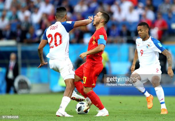 Anibal Godoy of Panama holds off Eden Hazard of Belgium during the 2018 FIFA World Cup Russia group G match between Belgium and Panama at Fisht...