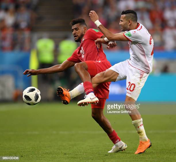 Anibal Godoy of Panama is tackled by Ghaylen Chaaleli during the 2018 FIFA World Cup Russia group G match between Panama and Tunisia at Mordovia...