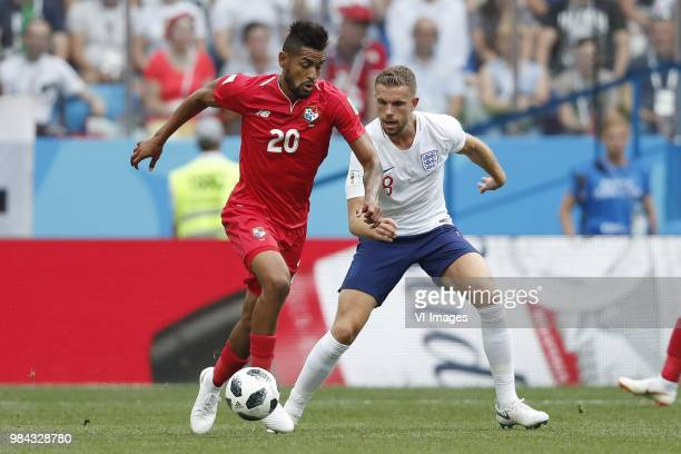 Anibal Godoy of Panama Jordan Henderson of England during the 2018 FIFA World Cup Russia group G match between England and Panama at the Nizhny...