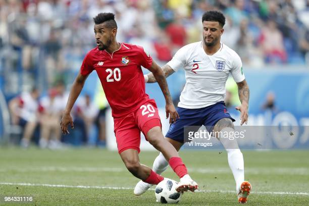 Anibal Godoy of Panama Kyle Walker of England during the 2018 FIFA World Cup Russia group G match between England and Panama at the Nizhny Novgorod...