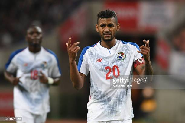 Anibal Godoy of Panama looks on during the international friendly match between Japan and Panama at Denka Big Swan Stadium on October 12 2018 in...
