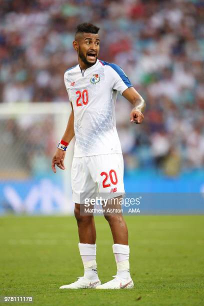 Anibal Godoy of Panama reacts during the 2018 FIFA World Cup Russia group G match between Belgium and Panama at Fisht Stadium on June 18 2018 in...