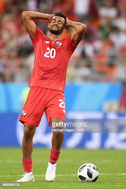 Anibal Godoy of Panama reacts during the 2018 FIFA World Cup Russia group G match between Panama and Tunisia at Mordovia Arena on June 28 2018 in...