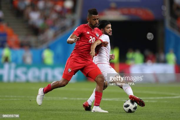 Anibal Godoy of Panama tackles Yassine Meriah of Tunisia during the 2018 FIFA World Cup Russia group G match between Panama and Tunisia at Mordovia...