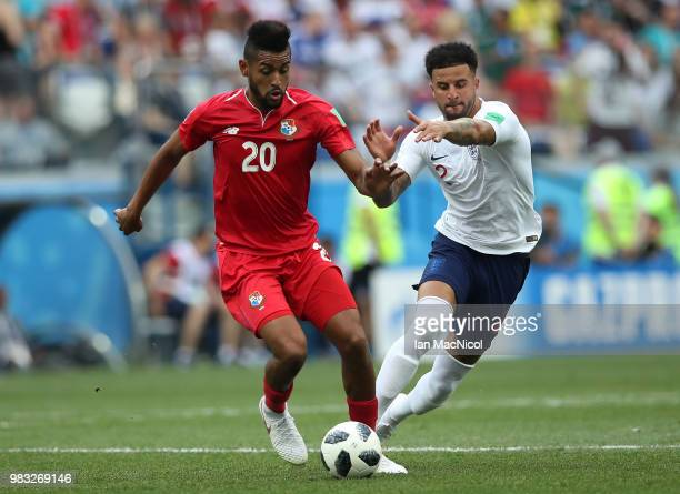 Anibal Godoy of Panama vies with Kyle Walker of England during the 2018 FIFA World Cup Russia group G match between England and Panama at Nizhniy...
