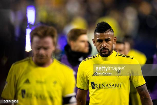 Anibal Godoy of the Nashville SC walks off the field with teammates at the end of the first half against the Atlanta United at Nissan Stadium on...