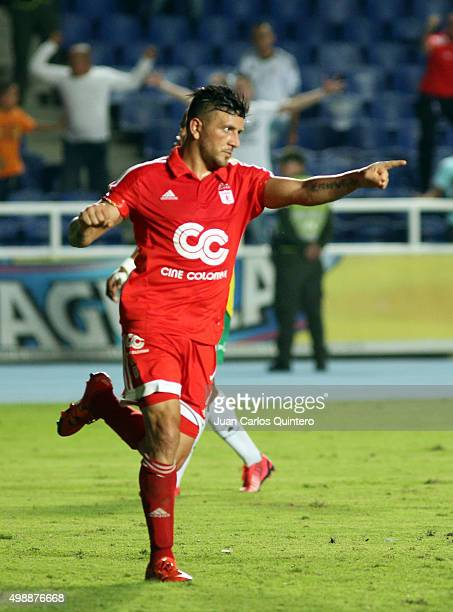 Anibal Hernandez of Amereica de Cali celebrates after scoring the second goal of his team during a match between America de Cali and Real Cartagena...