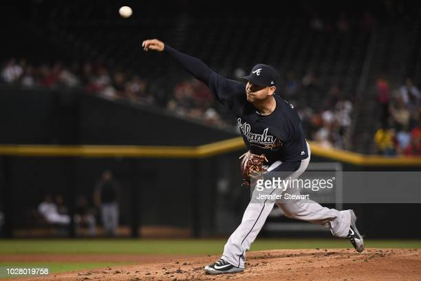 Anibal Sanchez of the Atlanta Braves delivers a pitch in the first inning of the MLB game against the Arizona Diamondbacks at Chase Field on...