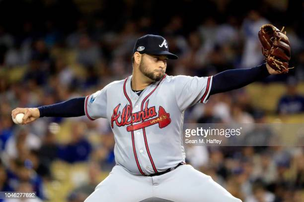 Anibal Sanchez of the Atlanta Braves delivers the pitch during the first inning against the Los Angeles Dodgers during Game Two of the National...