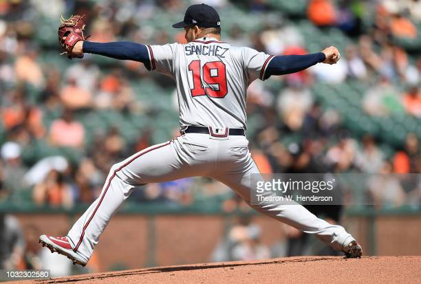 Anibal Sanchez of the Atlanta Braves pitches against the San Francisco Giants in the bottom of the first inning at ATT Park on September 12 2018 in...