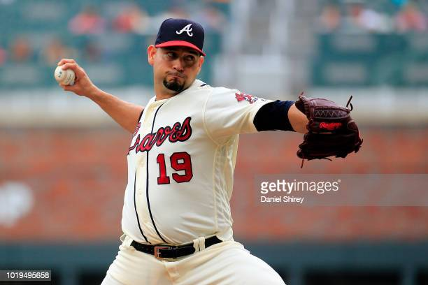 Anibal Sanchez of the Atlanta Braves pitches during the first inning against the Colorado Rockies at SunTrust Park on August 19 2018 in Atlanta...