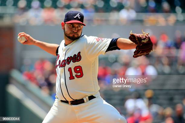 Anibal Sanchez of the Atlanta Braves pitches during the first inning against the Washington Nationals at SunTrust Park on June 3 2018 in Atlanta...