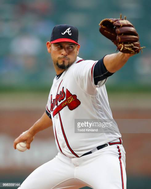 Anibal Sanchez of the Atlanta Braves pitches in the first inning of an MLB game against the Arizona Diamondbacks at SunTrust Park on July 13 2018 in...