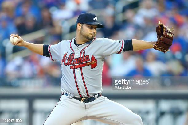 Anibal Sanchez of the Atlanta Braves pitches in the first inning against the New York Mets at Citi Field on August 3 2018 in the Flushing...
