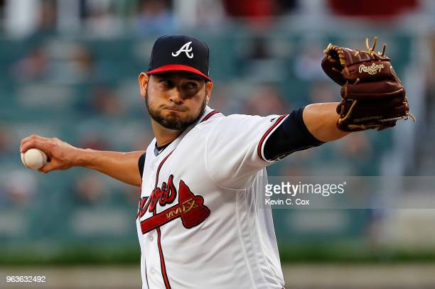 Anibal Sanchez of the Atlanta Braves pitches in the first inning against the New York Mets at SunTrust Park on May 29 2018 in Atlanta Georgia