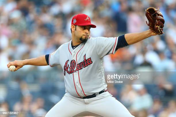 Anibal Sanchez of the Atlanta Braves pitches in the first inning against the New York Yankees at Yankee Stadium on July 2 2018 in the Bronx borough...