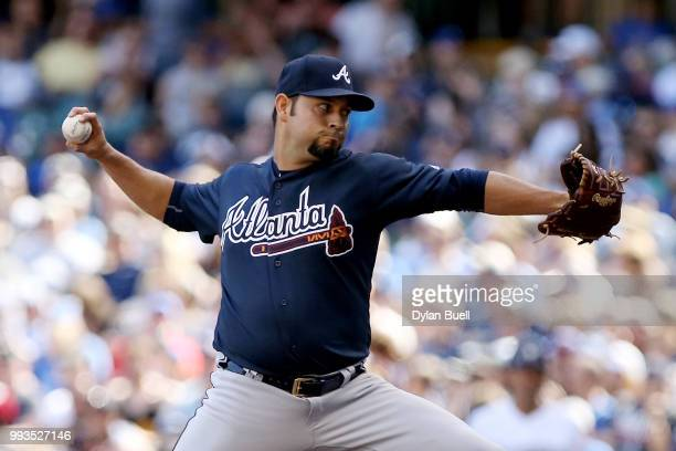 Anibal Sanchez of the Atlanta Braves pitches in the second inning against the Milwaukee Brewers at Miller Park on July 7 2018 in Milwaukee Wisconsin
