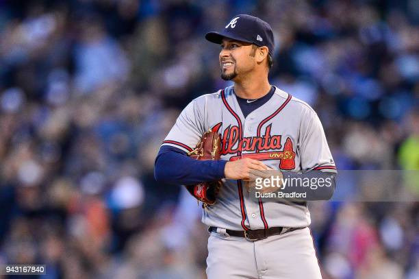 Anibal Sanchez of the Atlanta Braves reacts after allowing a fourth inning solo homerun to Trevor Story of the Colorado Rockies during a game at...