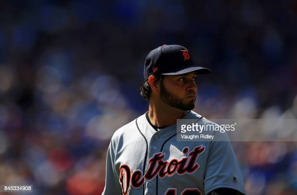 Anibal Sanchez of the Detroit Tigers looks on after being pulled from the game in the fifth inning during MLB game action against the Toronto Blue...