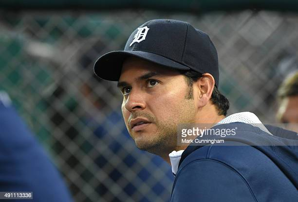Anibal Sanchez of the Detroit Tigers looks on from the dugout during the game against the Tampa Bay Rays at Comerica Park on September 8 2015 in...