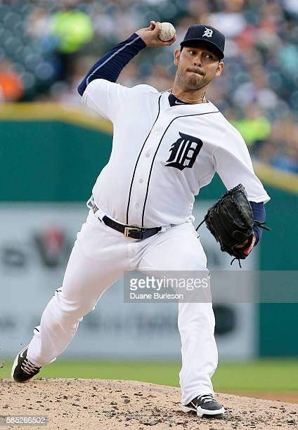 Anibal Sanchez of the Detroit Tigers pitches against the Chicago White Sox during the second inning at Comerica Park on August 2 2016 in Detroit...