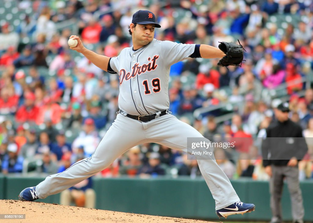 Anibal Sanchez #19 of the Detroit Tigers pitches against the Minnesota Twins in the first inning during their baseball game on October 1, 2017, at Target Field in Minneapolis, Minnesota.
