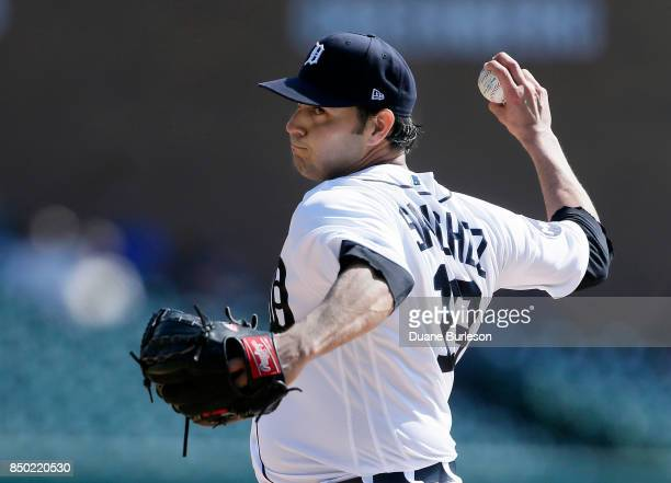 Anibal Sanchez of the Detroit Tigers pitches against the Oakland Athletics during the third inning at Comerica Park on September 20 2017 in Detroit...
