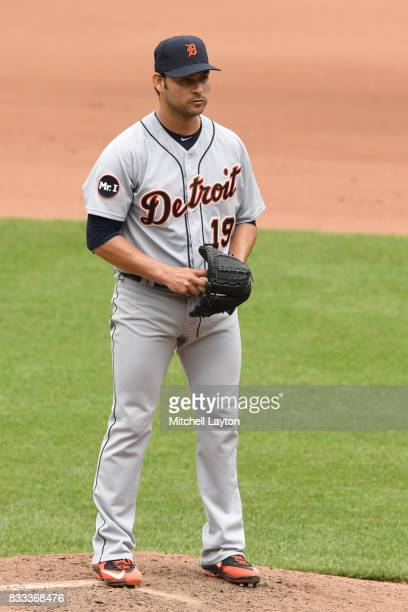 Anibal Sanchez of the Detroit Tigers pitches during a baseball game against the Baltimore Orioles at Oriole Park at Camden Yards on August 6 2017 in...
