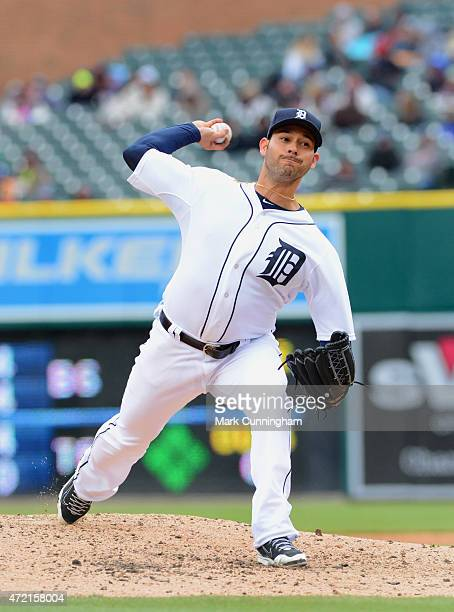 Anibal Sanchez of the Detroit Tigers pitches during the game against the New York Yankees at Comerica Park on April 23 2015 in Detroit Michigan The...