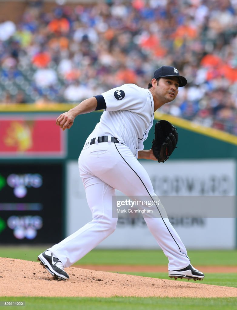 Anibal Sanchez #19 of the Detroit Tigers pitches during the game against the Toronto Blue Jays at Comerica Park on July 16, 2017 in Detroit, Michigan. The Tigers defeated the Blue Jays 6-5.