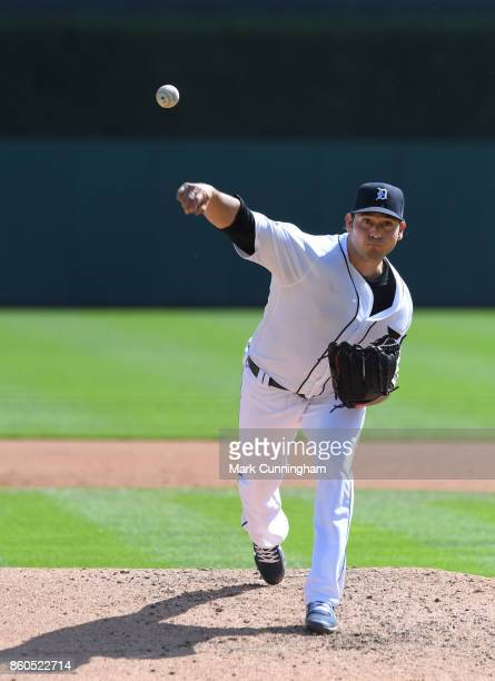 Anibal Sanchez of the Detroit Tigers pitches during the game against the Oakland Athletics at Comerica Park on September 20 2017 in Detroit Michigan...