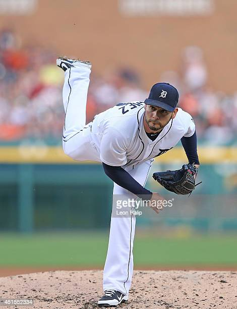 Anibal Sanchez of the Detroit Tigers pitches during the third inning of the game against the Oakland Athletics at Comerica Park on June 30 2014 in...