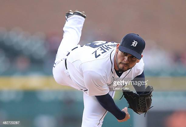 Anibal Sanchez of the Detroit Tigers pitches in the first inning of the game against the Baltimore Orioles at Comerica Park on April 4 2014 in...