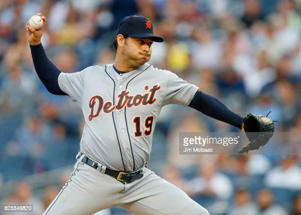 Anibal Sanchez of the Detroit Tigers pitches in the first inning against the New York Yankees at Yankee Stadium on August 1 2017 in the Bronx borough...