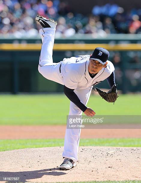 Anibal Sanchez of the Detroit Tigers pitches in the second inning of the game against the Chicago White Sox at Comerica Park on September 22 2013 in...