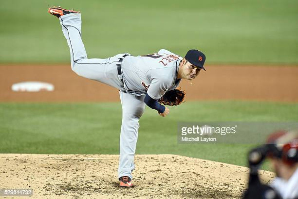 Anibal Sanchez of the Detroit Tigers pitches in the sixth inning during a baseball game against the Washington Nationals at Nationals Park on May 9...