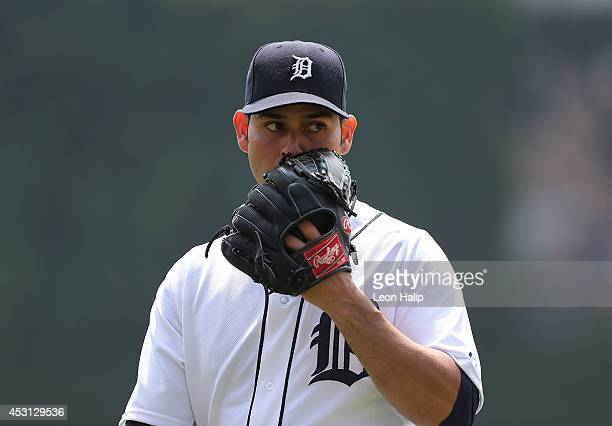 Anibal Sanchez of the Detroit Tigers pitches in the third inning of the game against the Colorado Rockies at Comerica Park on August 3 2014 in...