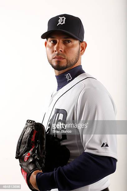 Anibal Sanchez of the Detroit Tigers poses for a photo during the Tigers' photo day on February 28 2015 at Joker Marchant Stadium in Lakeland Florida