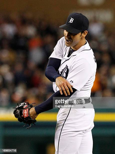 Anibal Sanchez of the Detroit Tigers reacts after giving up a single to Joe Mauer of the Minnesota Twins to end his nohit bid in the ninth inning at...