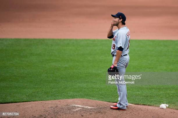 Anibal Sanchez of the Detroit Tigers reacts after giving up a tworun home run to Manny Machado of the Baltimore Orioles in the fourth inning during a...
