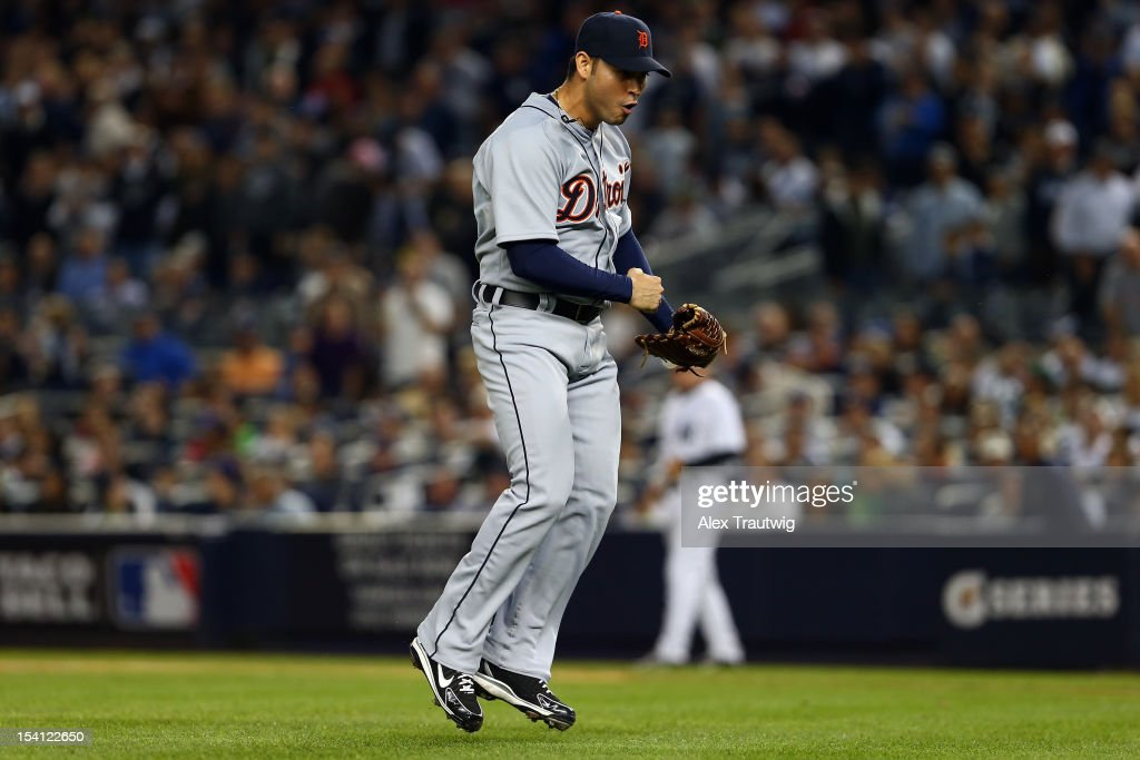 Anibal Sanchez #19 of the Detroit Tigers reacts after he struck out Jayson Nix #17 of the New York Yankees to end the bottom of the seventh inning during Game Two of the American League Championship Series at Yankee Stadium on October 14, 2012 in the Bronx borough of New York City.