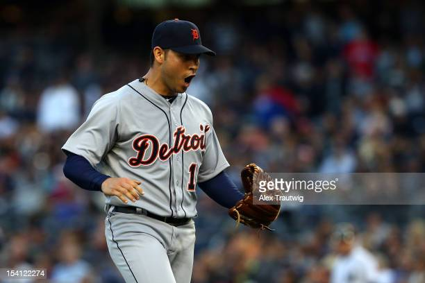 Anibal Sanchez of the Detroit Tigers reacts after Russell Martin of the New York Yankees grounded out for the final out in the bottom of the sixth...