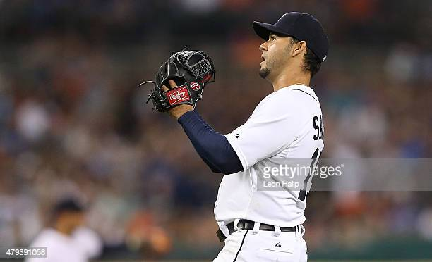 Anibal Sanchez of the Detroit Tigers reacts to the first single of the game by Ezequiel Carrera of the Toronto Blue Jays during the eighth inning on...